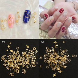 1 Box Metal Rivets Nail Studs Mixed Shapes(Star+Moon) 3D Gold Frame Nail  Glitter Rhinestones Jewelry Charms For Nails Tips Decor 275ae7174b46