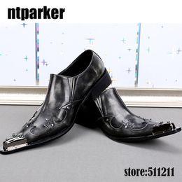 $enCountryForm.capitalKeyWord Australia - Western Style Men Shoes sepatu pria Leather Business Party Shoes for Men Iron Pointed Toe Black Grey Men Wedding Shoes!
