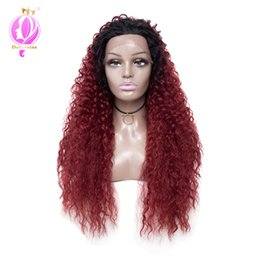 Chinese  Doheroine OT27# Hair Color Long Ombre Water Wave Synthetic Lace Front Wigs High Density Heat Resistant Synthetic Hair Wigs For Women 26inch manufacturers