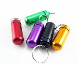 Pill Box Keychain Waterproof Australia - Mini Waterproof Pill Box Key rings Metal Keychain Storage Sealed Medicine Bottle Key chain Outdoor Travel Portable Bottles