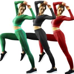 $enCountryForm.capitalKeyWord Canada - Woman Yoga Set, Long sleeve tops Sport Suit, Gym fitness tracksuit Clothing,lady Compressed workout shirt pants sets, 2PCS