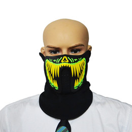 Discount glow party clothes - LED Masks Clothing Big Terror Masks Cold Light Helmet Fire Halloween Festival Party Glowing Dance Steady On Driver