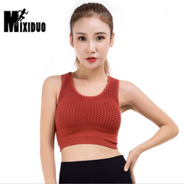 68dcdce3aa742 Mixiduo Sexy Hollow Out Sports Bras Top Women Push Up Seamless Fitness Gym  Bra Vest-type Solid Yoga Workout Sport Brassiere