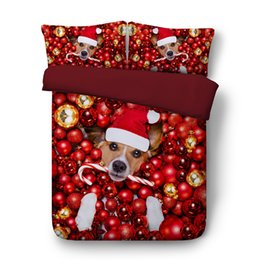 Christmas Red White Bedding NZ - 3D Christmas red Duvet cover Animal Bedding Sets Dog Sheep Bedspreads Holiday Quilt Covers Bed Linen Pillow Covers ocean Beach Theme queen