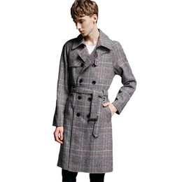88dbdf6699c Spring Business Casual Slim Long Trench Coat Men Autumn Fashion Double  Breasted Mens Plaid Trench Coat Overcoat Plus Size 6XL