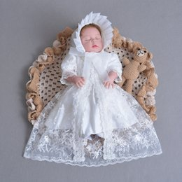 $enCountryForm.capitalKeyWord Canada - baby girl baptism gown christening dress Big Bow Lace Embroidered dresses With Cardigan and Cap Kids white Birthday Wedding Dress Cosplay