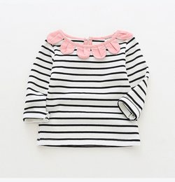753e17518f2 Girl Stripped Clothes UK - girl kids clothing long sleeved T shirt stripped  sunflower round collar