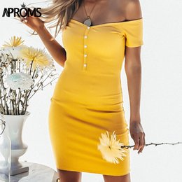 $enCountryForm.capitalKeyWord Canada - Aproms Off Shoudler Ribbed Mini Dress Women Summer Tunic Dresses Sexy Short Sleeve Buttons Bodycon Party Knitted Dresses Vestido