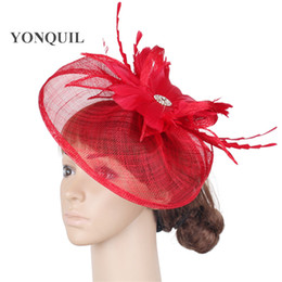 9d045eac Fashion race sinamay fascinator fedora hats wedding feather flower  headdress elegant bridal red cocktail hair accessories SYF289