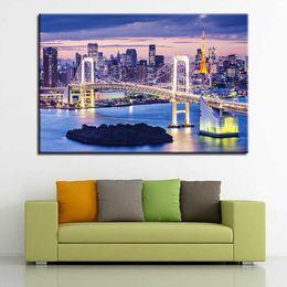 $enCountryForm.capitalKeyWord Canada - Canvas HD Prints Pictures Wall Art Posters 1 Piece Pcs Rainbow Bridge Tokyo Night Paintings For Living Room Home Decor Framework