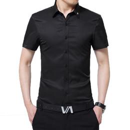 3255a28728 Camisa de lujo de los hombres Slim Fit manga corta de algodón de seda  Formal de negocios Camisas de vestir para hombre Blanco Rosa Negro Rojo 4XL  Hombre ...