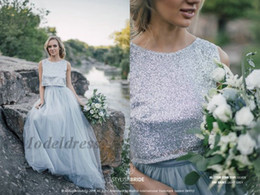 Wholesale special occasion summer beach dress resale online – Dusty Blue Wedding Gowns Unique Bling Bling Sequined Tops Soft Tulle A Line Two Pieces Bridal Gowns for Special Occasions Engagement Gowns