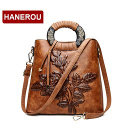 5ba270b89820 Women Leather Handbag Vintage Bucket Bags Embossing Printing Retro Designer  Floral Handbag 2018 Luxury Tote Bag High quality X910 X910