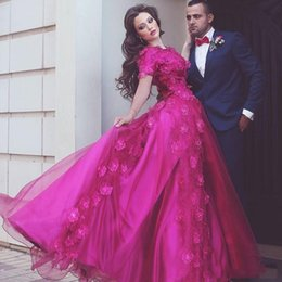 evening dress fuchsia Canada - Elegant Fuchsia Lace Prom Dresses Long With Sleeves Evening Gowns Middle East Dubai Formal Dresses Custom Made Party Gowns for Women