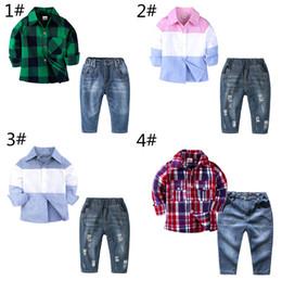 $enCountryForm.capitalKeyWord Australia - 4 style Baby boys Shirt denim pants sets childrens Plaid long sleeves outfits shirt+pants 2pcs set kids Clothing Sets Free shipping