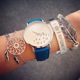 3Pcs / Set Boho Leaves Dreamcatcher Alphabet catena apertura bracciale donne moda braccialetto d'argento Set squisito regalo di San Valentino on Sale