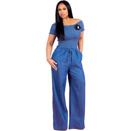 0bad38211dd Slash Neck Bodycon Jumpsuit Solid Short Sleeve Denim Women Romper Office  Lady Belt Wide Leg Overalls Casual Loose Long Playsuits