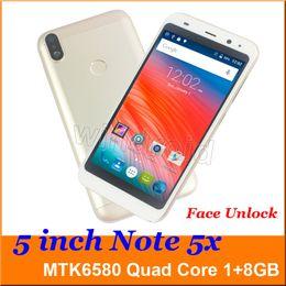 5 polegada 3G Inteligente Celular Android 6.0 MTK6580 Quad Core 1G 8 GB Móvel Dual SIM Câmera WCDMA desbloqueado Rosto Desbloquear Nota 5X Smartphone DHL 5