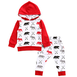 China Christmas Autumn baby clothing outfits Hooded Red Toddler clothes Long sleeve Reindeer bear Hoodies + pants 2pcs sets Wholesale supplier toddler style clothing suppliers