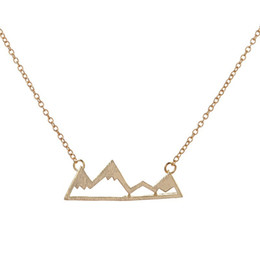 Brass electroplating online shopping - Fashionable mountain peaks necklaces geometric landscape character pendant necklaces electroplating silver plated necklaces gift for girls
