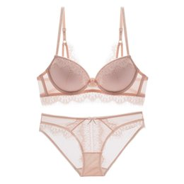 fa201ebe8c New Arrival Sexy Bra Set Lace Floral Lingerie Luxury Women Underwear Cotton  Pink Velvet Intimates Gather Push Up Bra   Panty Set