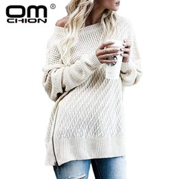 $enCountryForm.capitalKeyWord Australia - OMCHION Plus Size 2018 O Neck One Shoulder Off Sexy Sweater Women Loose Batwing Sleeve Split Zipper Female Pullover LMM117