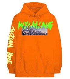 China Kanye West New Mens High Street Hip Hop Pullover Hoodies Wyoming Mountains Pattern Letter Printing Sweatshirts Male Casual Long Sleeve Tops supplier mens high neck sweatshirt suppliers