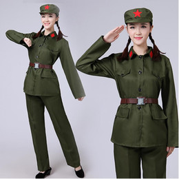 307e702c2b3 Army green Suit Red Army Warrior female performance wear masquerade clothes  military Clothing Uniforms For Women Chinese opera stage wear