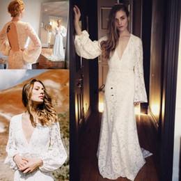 Discount outdoor wedding dress back - Sexy Lace Robe Long Sleeve Boho Wedding Dresses 2018 Custom Make V-neck Full length Keyhole Back Garden Outdoor Wedding