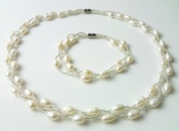marcasite bracelets NZ - Beautiful White Freshwater Cultured Pearl Necklace Bracelet Jewelry Set