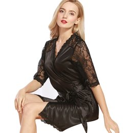 8499556c7ed2 2018 Summer Robes Womens Sleep Comfortable Full Solid Above Knee Mini Lace  Hollow Sexy Within Temptation Lace Night Gown Robes