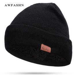 916b49ea925 2018 Hot Sale CC Brand Knit Beanie Hat Scarf Man Woman Plus Velvet  Thickening Head Cap Warm Skullies Winter Beanies Bone Dad Hat