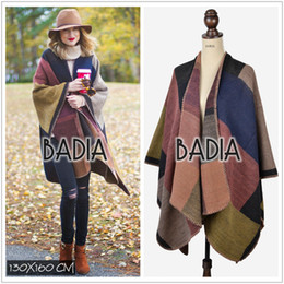 $enCountryForm.capitalKeyWord Canada - New autumn winter scarf brand colour block blanket coat check top cashmere wool woman blanket scarves plaid poncho blanket cape