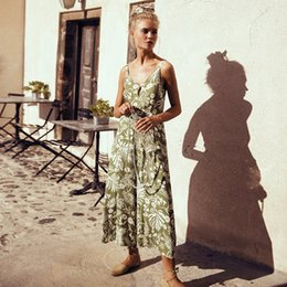 3d656c111c3 Women summer jumpsuits rompers Sexy V neck floral printed bohemian beach  jumpsuit holiday sleeveless full length loose long playsuits pant