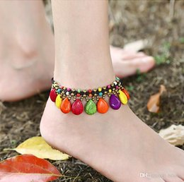 $enCountryForm.capitalKeyWord Canada - Bohemian Style Bracelet Anklets Braided Rope Red Beads Blue Stone Charm Anklets for Women Beach Barefoot Sandals Foot Jewelry