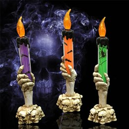 Wholesale New Halloween Bar Candle Decoration Halloween Skull Electronic LED Skeleton Hand Stand Candle Lamp Home Party Decoration
