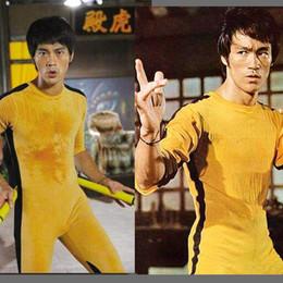 Jeet Kune Spiel des Todes Kostüm Overall Bruce Lee Klassische Gelbe Kung Fu Uniformen Cosplay JKD