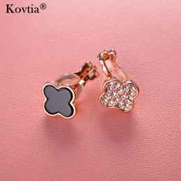 rose gold clip earrings NZ - Kovtia New Design Rose Gold Color Ear Cuff Asymmetry Clover Clip On Earrings Without Piercing For Women