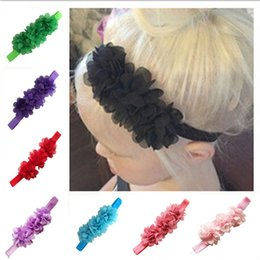 Wholesale Led Jewelry NZ - 10pcs lot Europe and the United States hot children's headwear 3 wavy side chiffon flower baby hair with baby hair lead jewelry