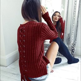1232154ef9 2018 Autumn Knit Pullover Sweaters Winter Slim Knitted Tops Lace Up Women  Long Sleeve Sexy Bandage Sweater Female Ribbed