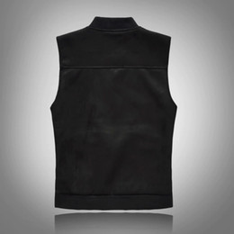 Wholesale mens hip hop vests online – oversize Fashion Vest Men Casual Fashion Zipper Hip Hop Cotton High Quality Mens Black Denim Vest Waistcoat Tops Drop Shipping