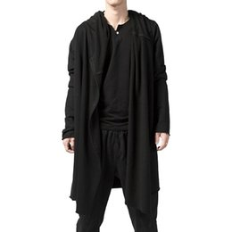 casual cape cloak jacket 2019 - S-5XL 2018 Fashion Men Long Hooded Trench Cape Cloak Coat Outwear Casual Slim Fit Jacket Top Warm Gothic Punk Hoodie che