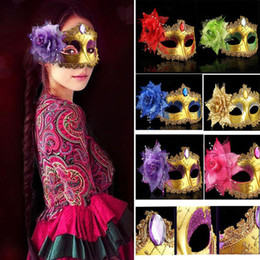 wholesale venetian chain UK - Masquerade Masks Venetian Face Mask Fashion Rose Bead Chain Crystal Party Decoration Halloween Christmas Gift