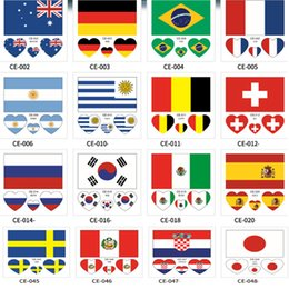 soccer team flags NZ - Country Flag Tattoo Sticker Waterproof National Flag Banners soccer Match Soccer Fans Face Wrist Body Stickers 32 Teams HH7-975