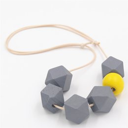 Chinese  whole sale1PC Geometric Wood Necklace Chunky Ball Faceted Colorful Wooden Beads Adjustable Cord Choker Bijoux manufacturers