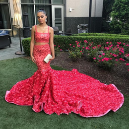 4853848a4dd9 Hot Pink Floral Sequins Two Pieces Mermaid Prom Dresses 2018 African Black  Girl Luxury 3D Rosettes Cathedral Train Prom Gowns Custom Made