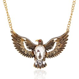 $enCountryForm.capitalKeyWord Canada - LZHLQ Ethnic Vintage Metal Eagle Crystal Waterdrop Pendants Necklaces Women Jewelry 2017 Personality Style Statement Necklace