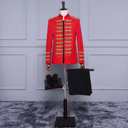 $enCountryForm.capitalKeyWord Australia - 2017 Red Long Sleeves 18th Century European Court Gold Piping Stage Performance Costumes Wedding Party Groomsman Suit Blazers