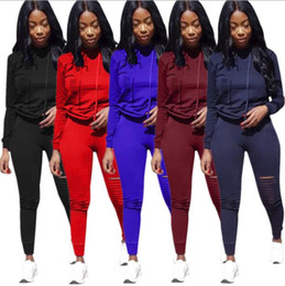 trendy leggings Australia - Women Ripped Hoodies Two Piece Set Outfits Hoody Tights Leggings Tracksuit Pullover Sweat Pants Sportswear trendy plus size women clothes