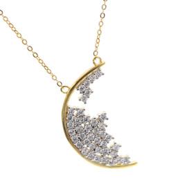 d742c868b0f9 Chapado en oro CZ racimo collar de luna para 2018 Regalo de Navidad  chispeante bling CZ diamante 925 collar de la luna de plata moda colgante